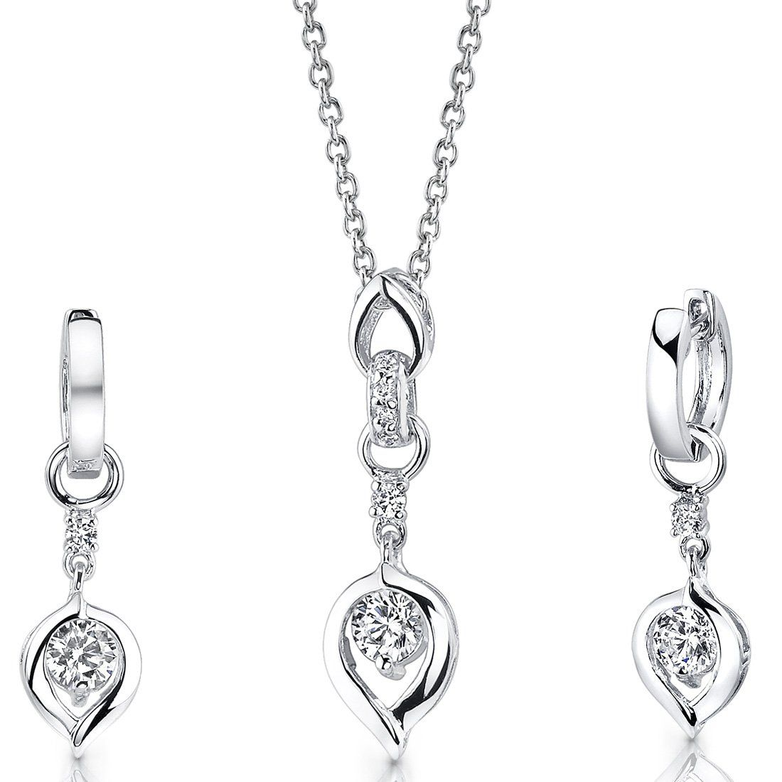 Sterling silver rhodium nickel finish heart pendant necklace