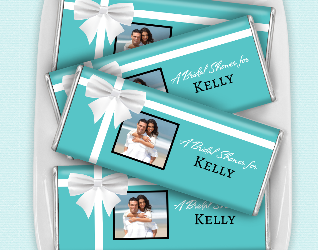 bridal shower favor personalized chocolate bar tiffany style bow in rh pinterest com