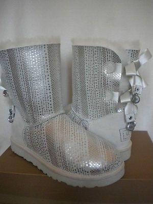 UGG Classic Bailey Bow Charms Bling Boots ~White/Silver ~US 7/ 38