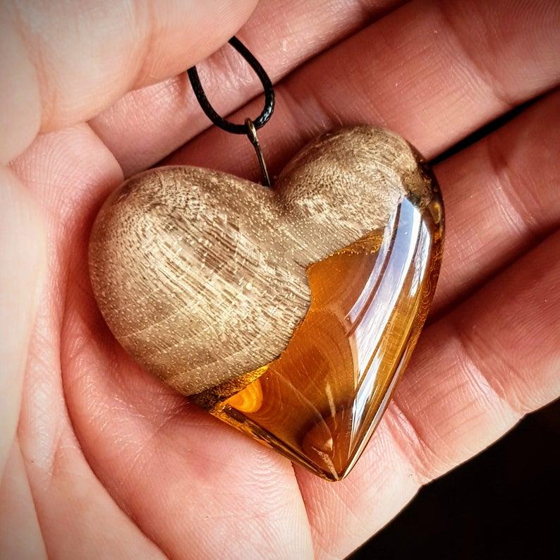 Photo of Wood Resin Pendant, Gold heart, Beachwear, Fashion Jewelry, modern jewelry, Anniversary, Gift for friend, Boho Chic, Resin Art