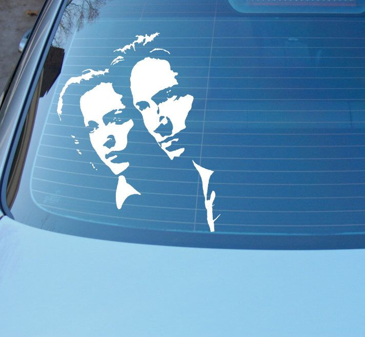 Dana fox decal scully mulder face art fan art car decal sci fi tv shows aliens ufo i want to believe trust no one