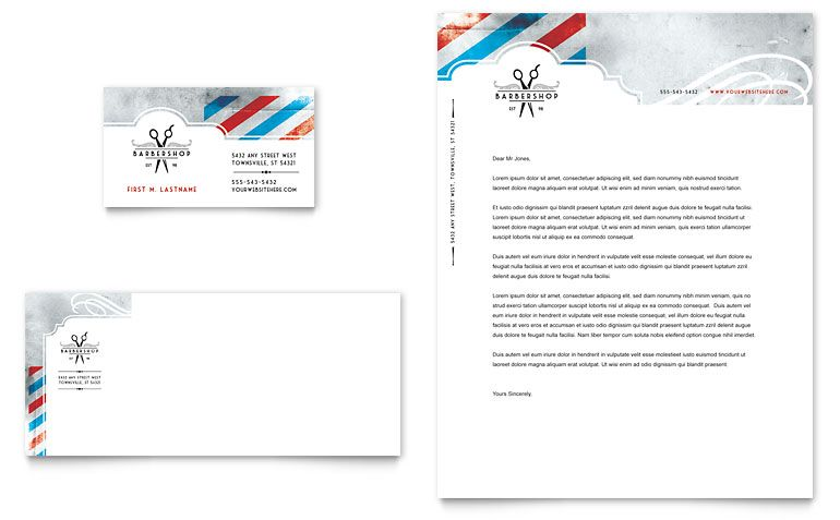 Barbershop - Business Card \ Letterhead Template Design Design - free personal letterhead templates word