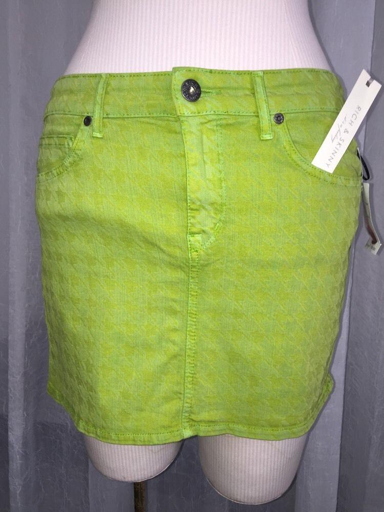 e9ae4c2bd3 Rich & Skinny Lime Green HoundsTooth Mini Skirt Size 30 New | Skirt ...