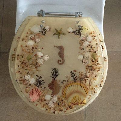 "Seahorse Seashells Acrylic Round shaped Toilet Seat Beige 17/"" INCH"