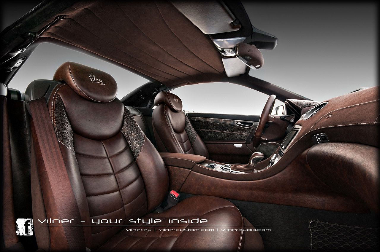Car interior brown - Custom Leather Auto Interior Leather With Antique Effect Crocodile Leather And