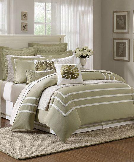 Green Cream Trim Comforter Set Bedroom Green Sage Green Bedroom Bed Comforters