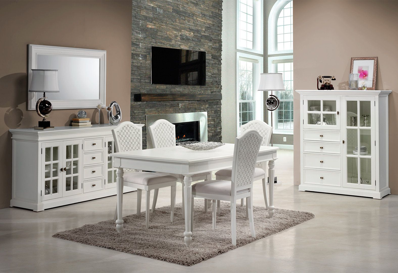 COMEDOR CLASICO BLANCO CLARENCE | Muebles clasicos blancos Clarence ...