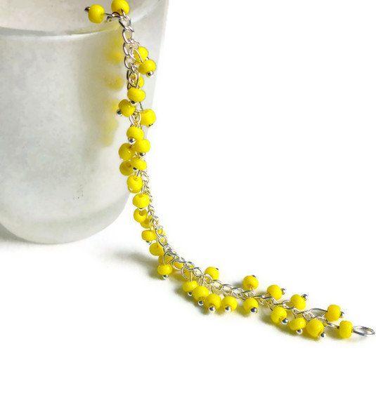 #neon yellow bracelet #bright yellow jewelry #spring #beading jewelry https://www.etsy.com/ca/shop/AkitlaFlair