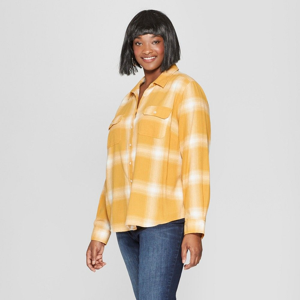 Flannel shirts at kohl's  Womenus Plus Size Plaid Long Sleeve Flannel Shirt  Universal Thread