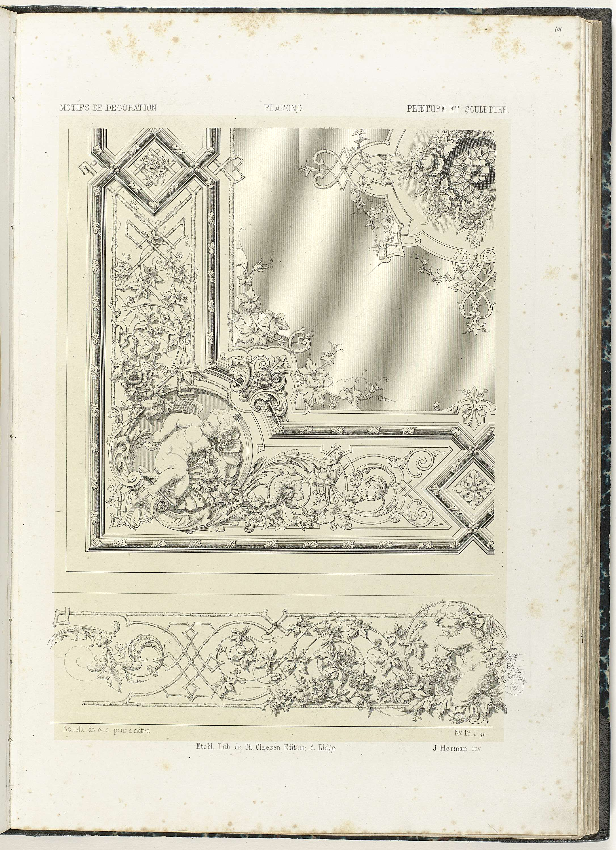 Design for wall paneling and ceiling in pompeiian style chteau plafond en fries anonymous etablissement lithographique de charles claesen c 1866 doublecrazyfo Gallery