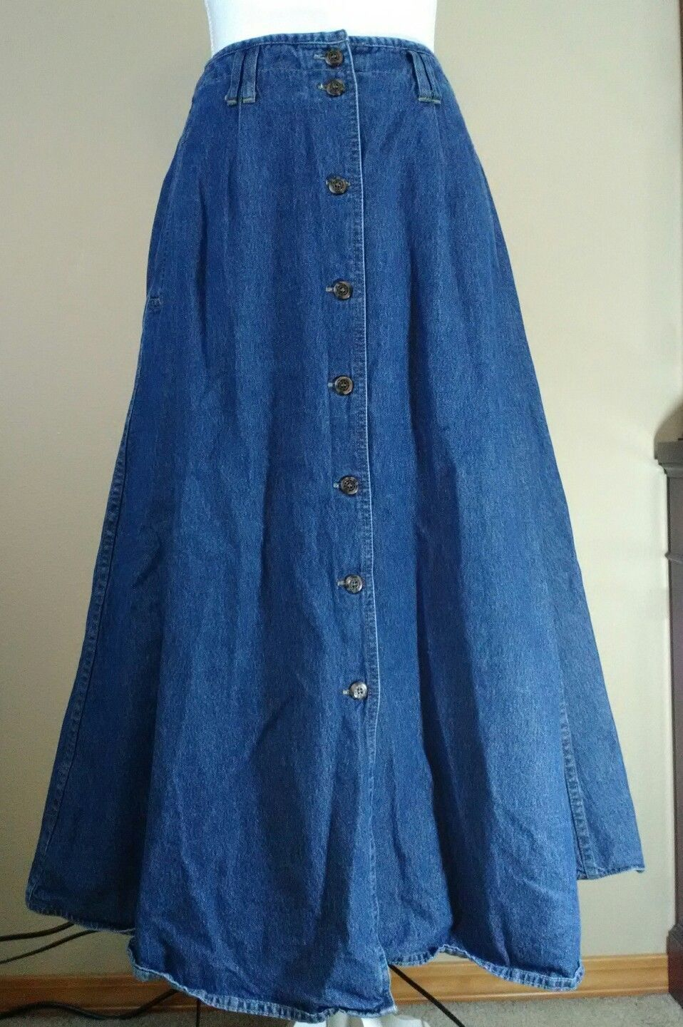8277a24092 Vintage Western Style Button Down Denim Full Maxi Skirt Bugle Boy For Her  10 | eBay