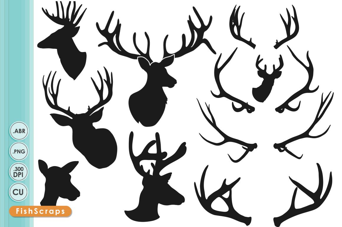 Illustrations Product Images ~ Deer Head Silhou… ~ Creative Market