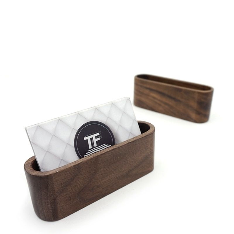 1pc Creative Black Walnut Wood Business Card Holder Name