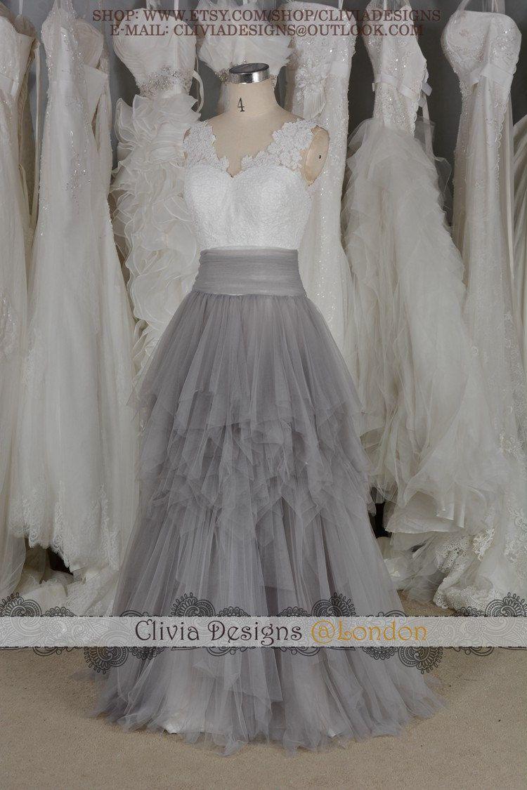 Colorful Grey Lace Wedding Dress Illustration - Wedding Dress Ideas ...