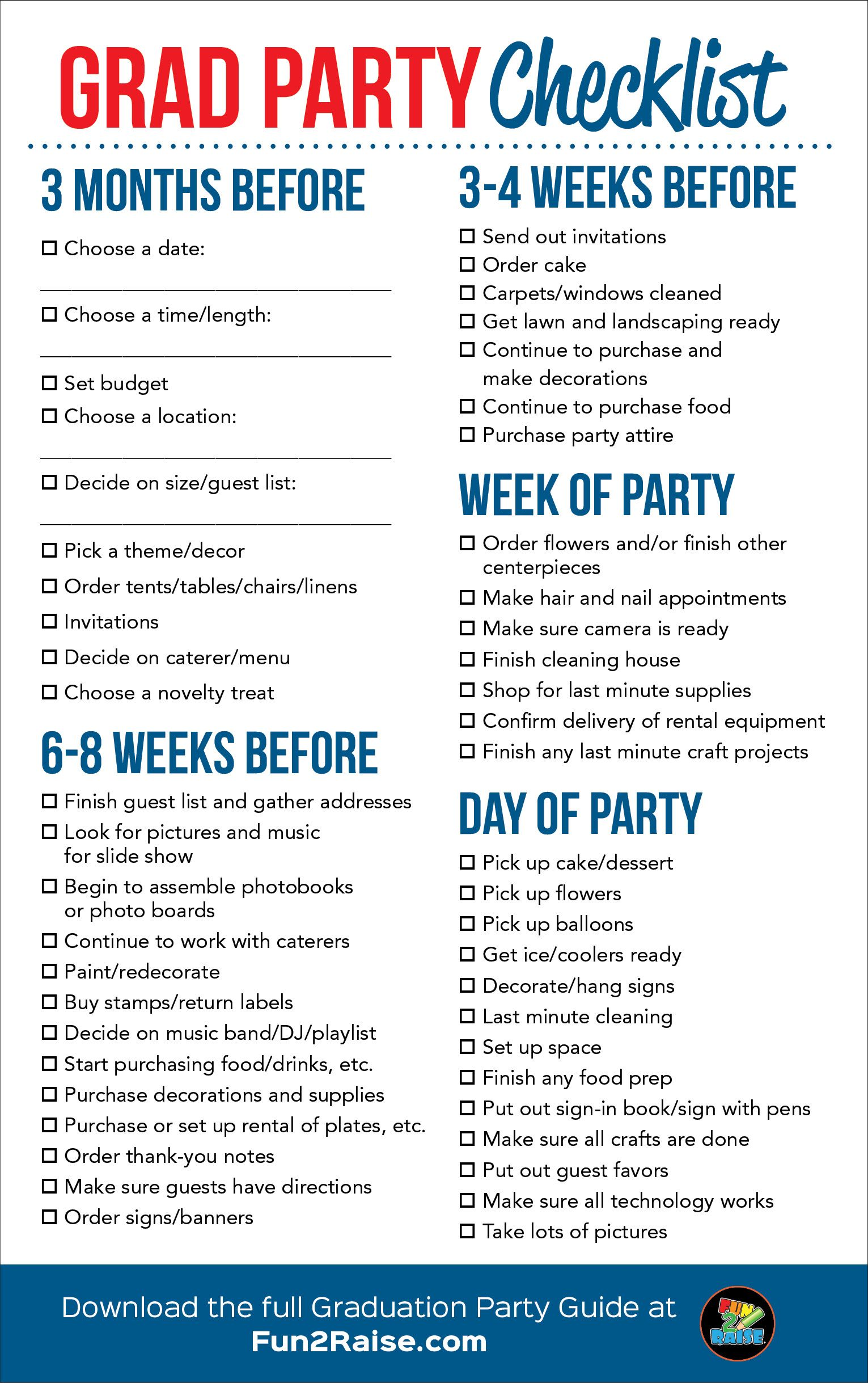 The Perfect Grad Party Checklist For More Helpful Tips On Planning Your Next Grad Senior Graduation Party Graduation Party Checklist Graduation Party Planning