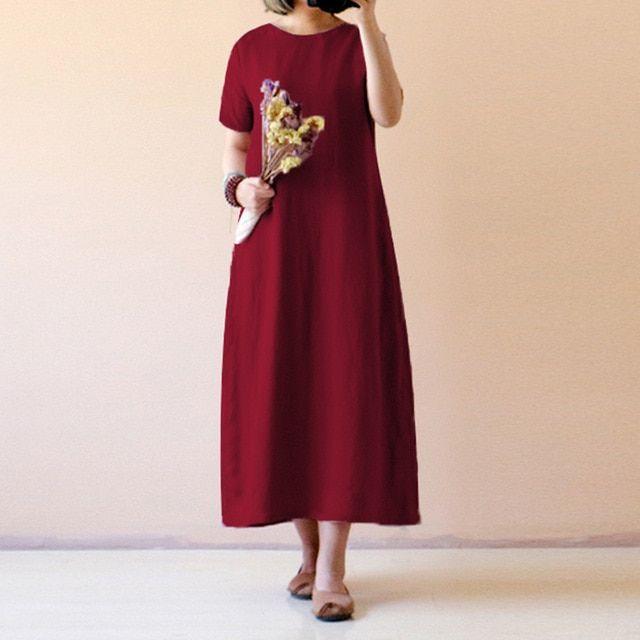 Women vintage linen dress summer shirt dress short sleeve solid casual loose party beach maxi long vestidos #shortsleevedressshirts
