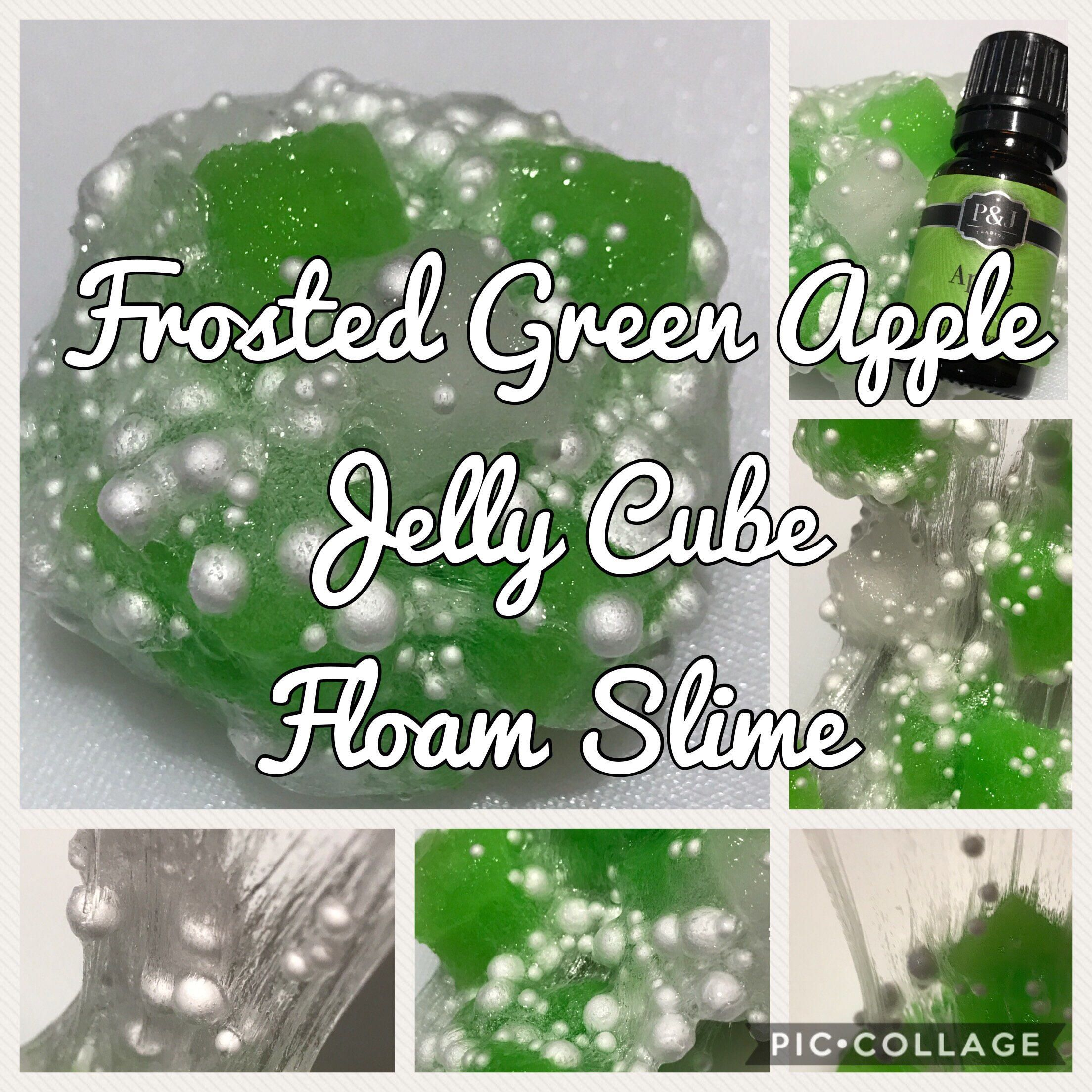 Frosted Green Apple Jelly Cube Floam Slime