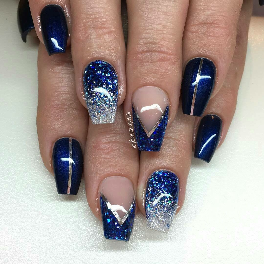 Blue Silver Nails Blue And Silver Nails Navy And Silver Nails Silver Nails