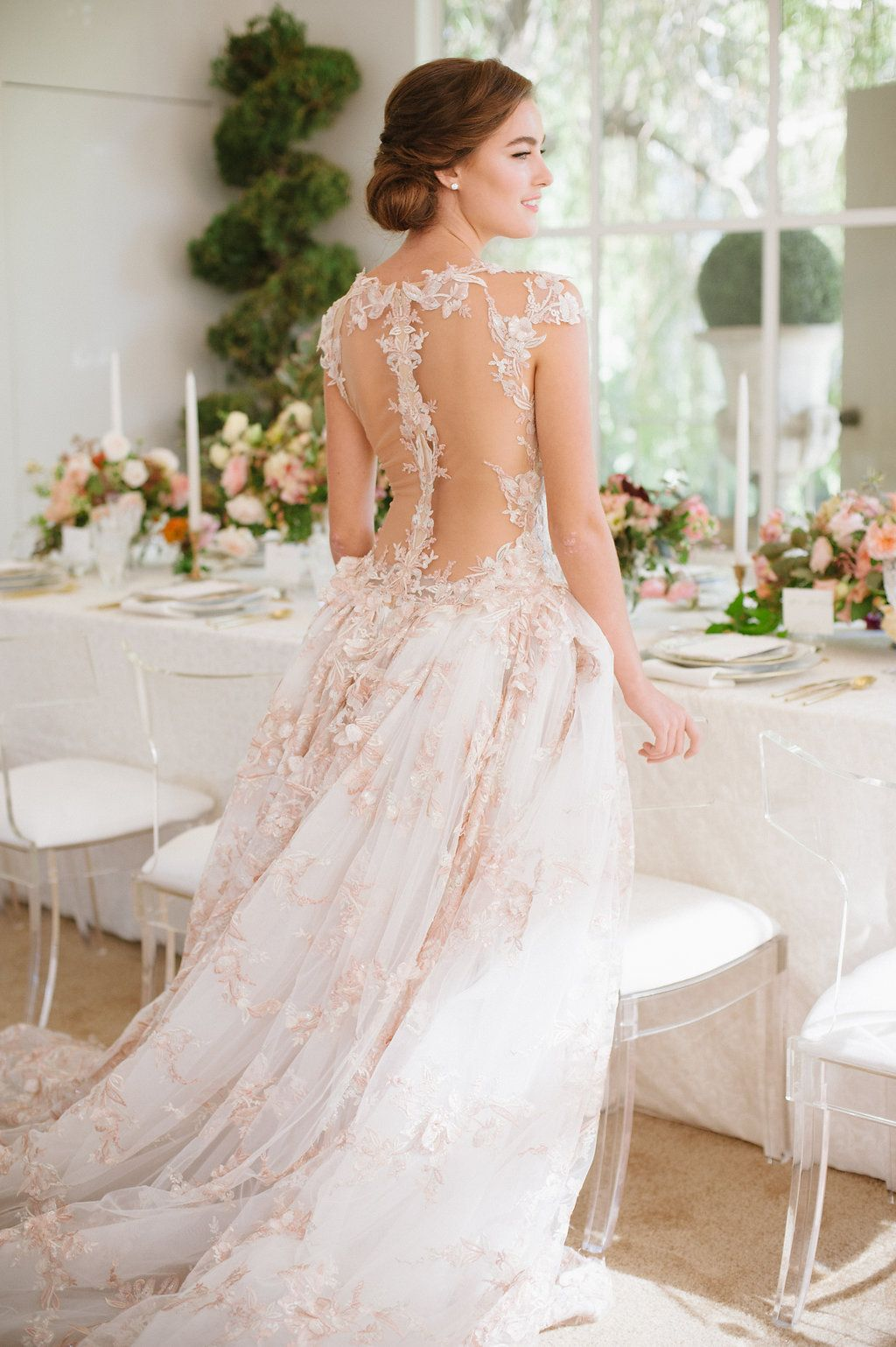 Blush Wedding Dress Galia Lahav Israel Designer Fl Lace Gown With Lique Open Back Hair Updo Lily Rose