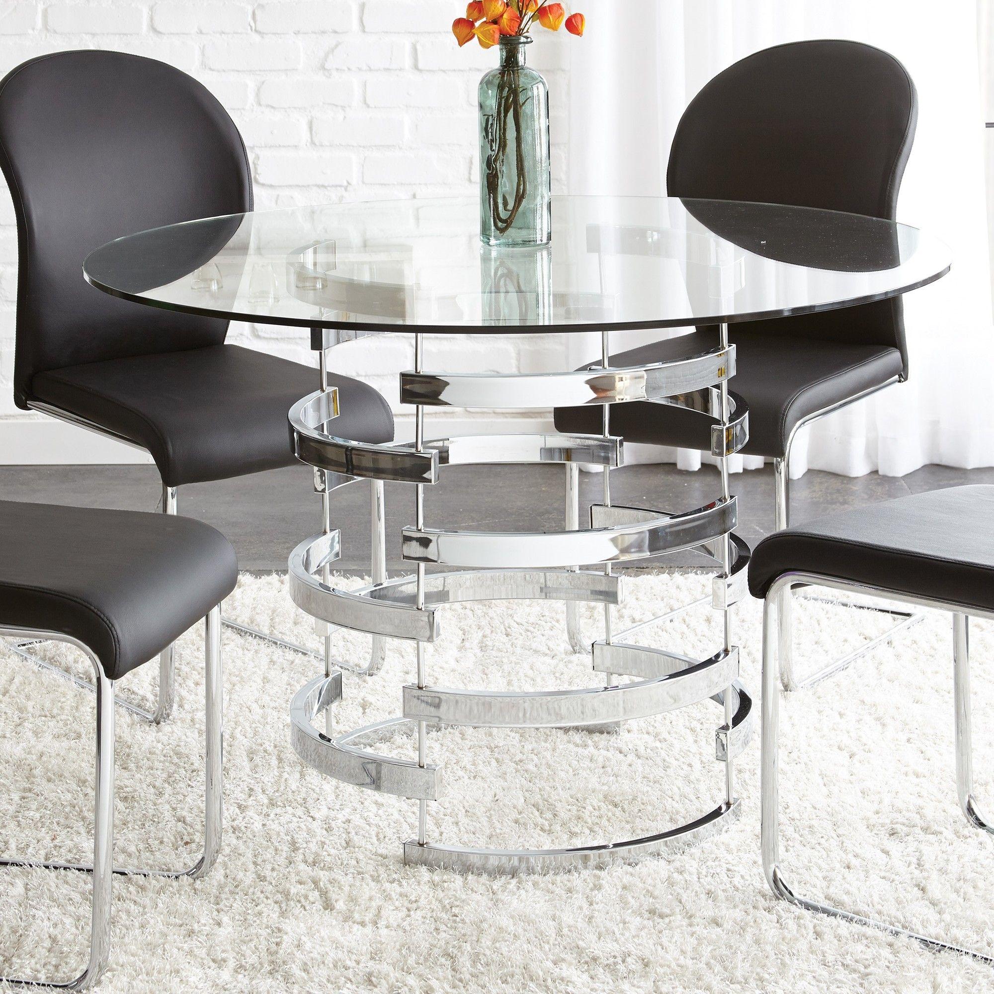 Corrigan Studio Tayside 5 Piece Dining Set Glass Top Dining Table Glass Round Dining Table Glass Dining Table