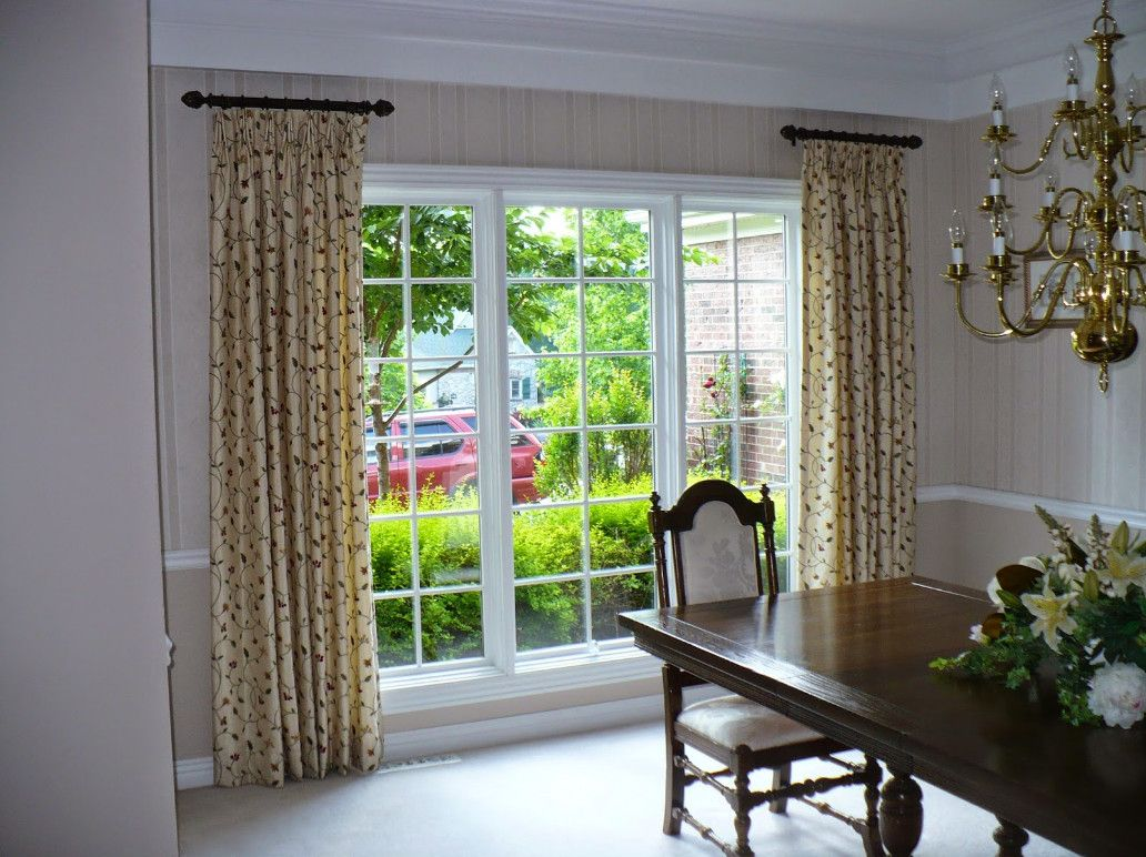 Short side panel curtain rods overlook pinterest for Curtain styles for small windows