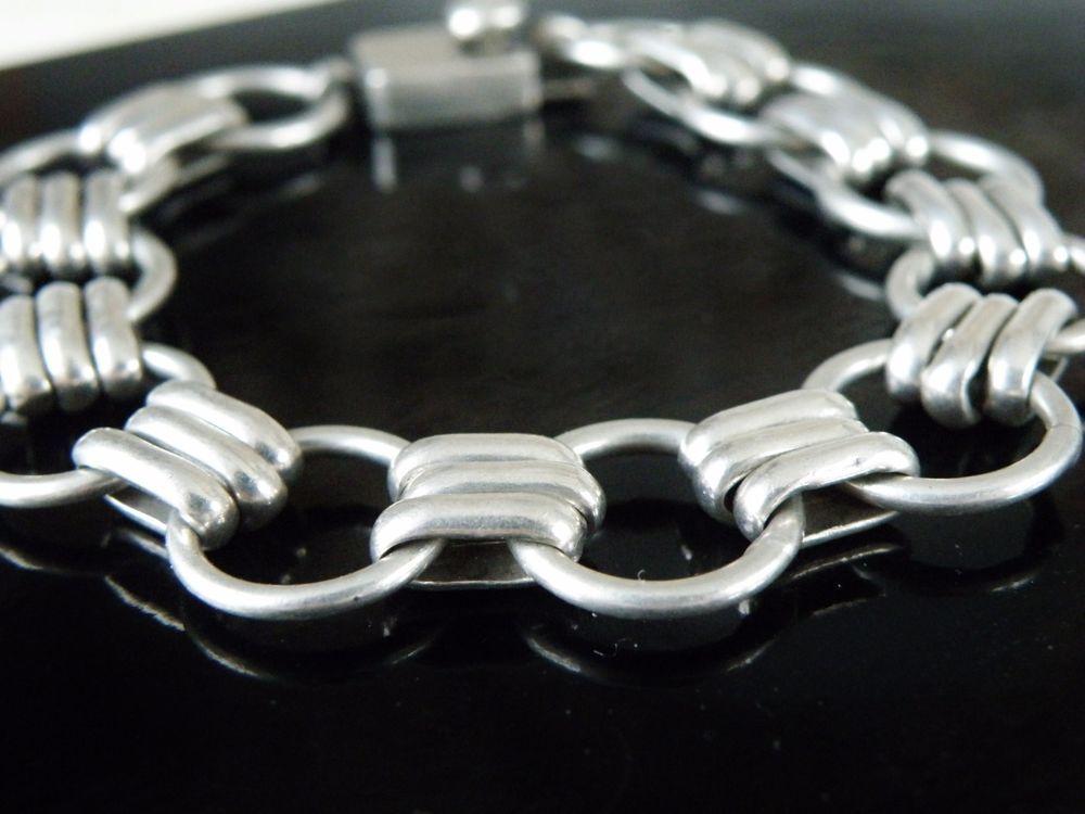 Vintage Taxco Mexico Open Multi Ring Chain Link Sterling Silver 925 Bracelet #Taxco #Chain #BraceletwithWatch #WatchBracelet #StackBracelet