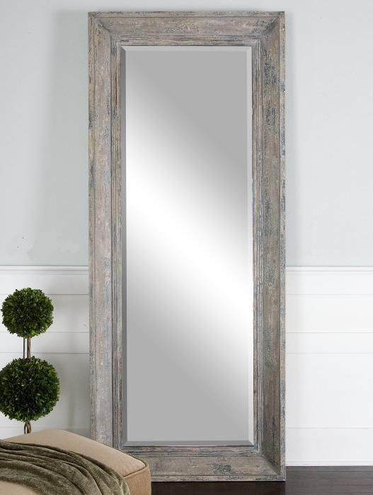 Distressed Wood Floor Mirror Dressing Xl Rustic Full Length Blue Green Wall New Country