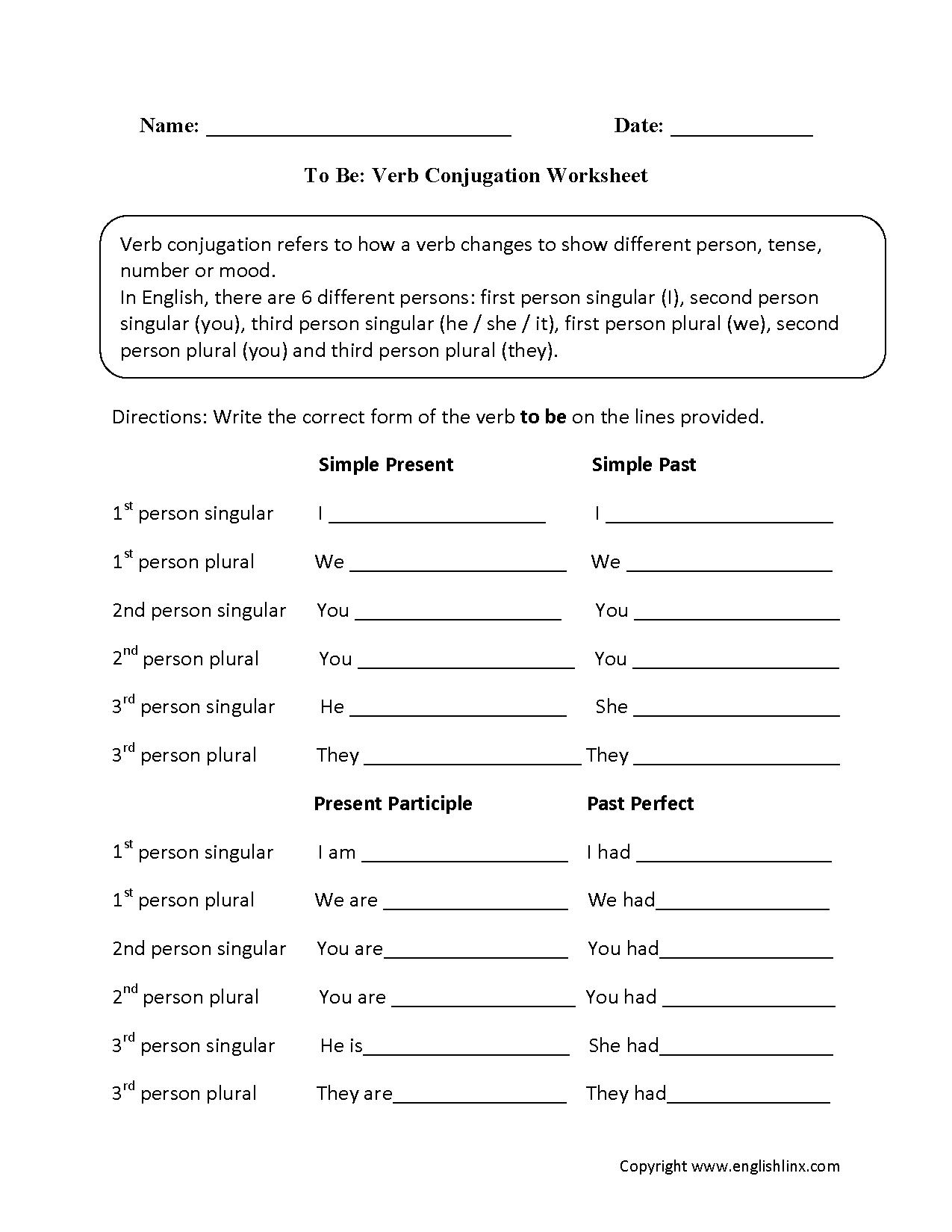 Verb Conjugation Worksheets | English | Pinterest