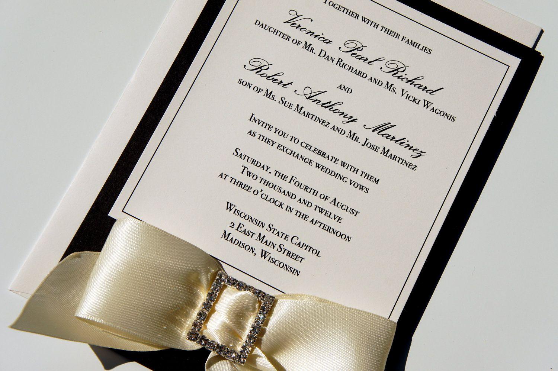 Elegant Traditional Black and Ivory Classic Ribbon and Rhinestone ...