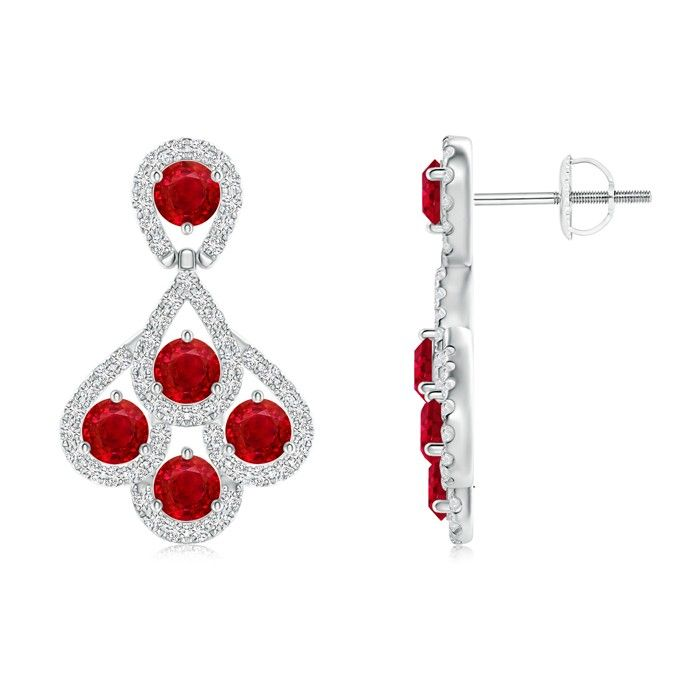 Angara Round Ruby Diamond Halo Dangle Earrings in Platinum shZNte