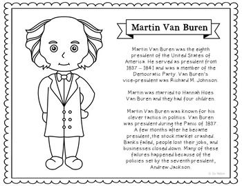 martin van buren coloring page or poster with short biography makes a great addition to