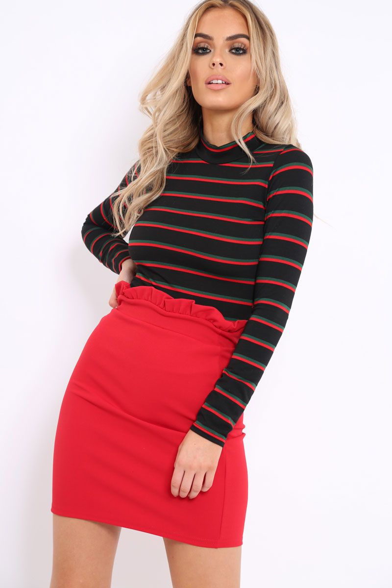 84478c02279 Black High Neck Stripe Crop Top - Londyn | Hip Teen Clothes ...