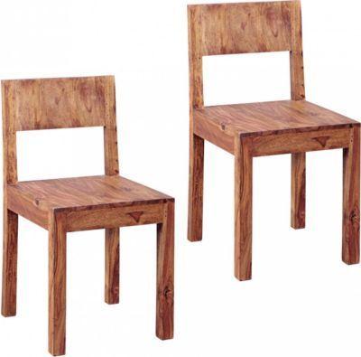 Wohnling WOHNLING Esszimmerstühle 2er Set Massiv-Holz Sheesham - eckbänke für küchen