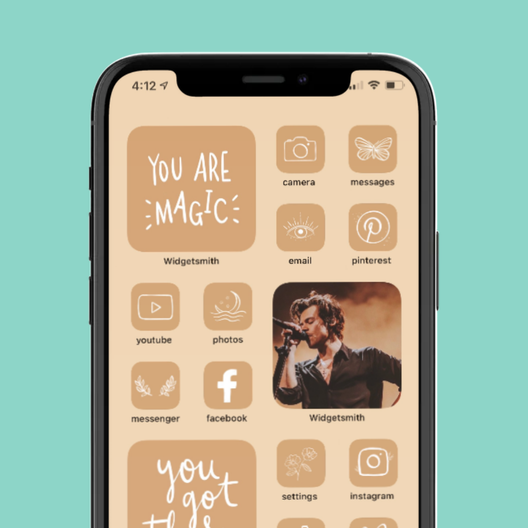 Home Screen Layout Neutral Aesthetic / iPhone iOS14