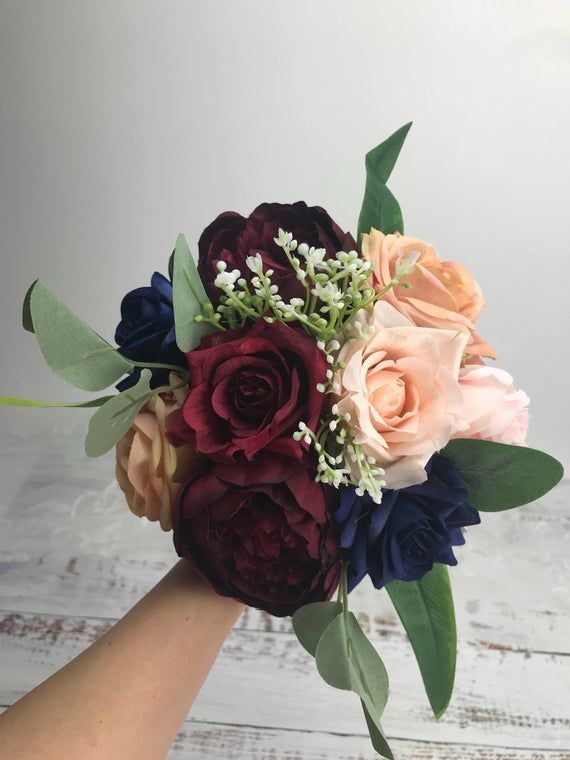 Wedding bouquet , bridal bridesmaids bouquet ,burgundy ,navy ,blush ,gold ,eucalyptus ,rose ,peonies