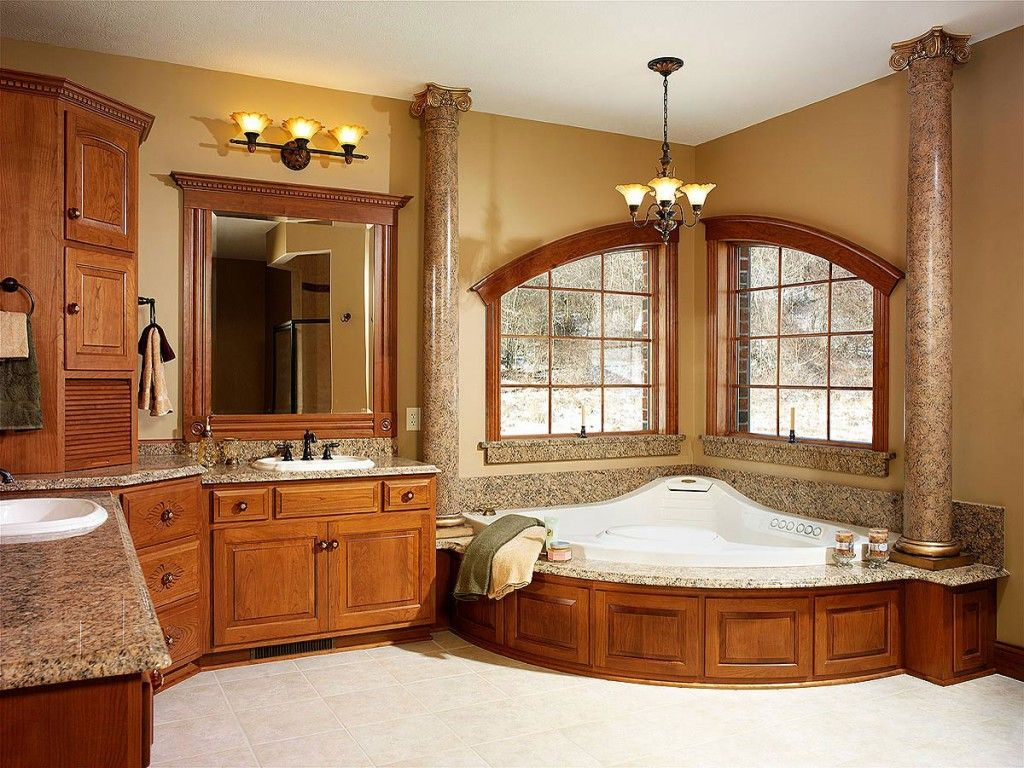 Master bedroom with jacuzzi tub  HomeOwnerBuff Classic wooden Bathroom  Projects to Try  Pinterest