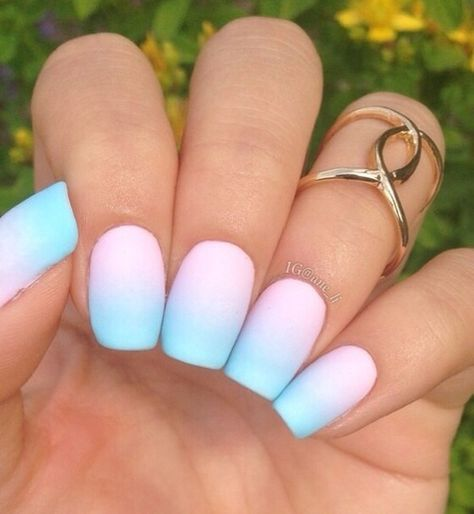baby pink blue ombre nails