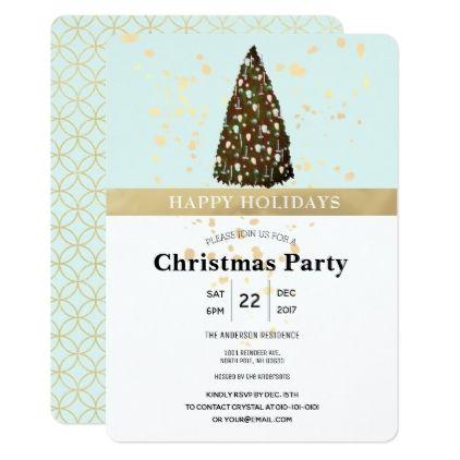 Editable Color Christmas Tree Party Invitation - holiday card diy