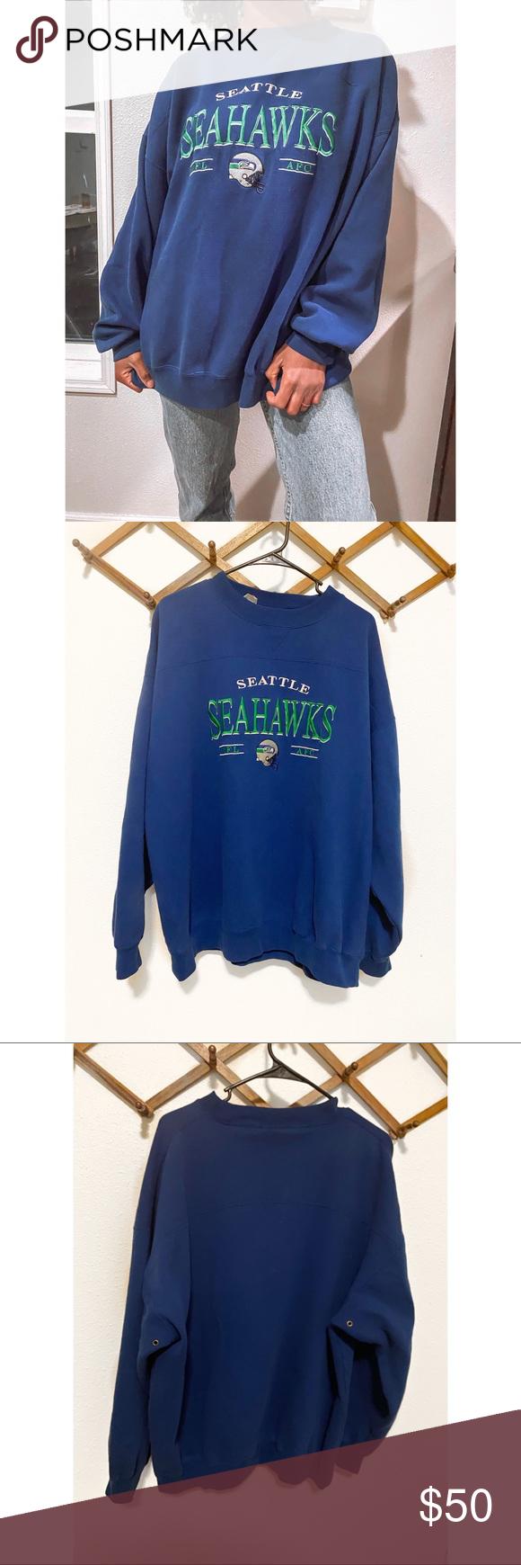 Predownload: Vintage Seattle Seahawks Crewneck Sweatshirt Sweatshirts Crew Neck Sweatshirt Nfl Outfits [ 1740 x 580 Pixel ]