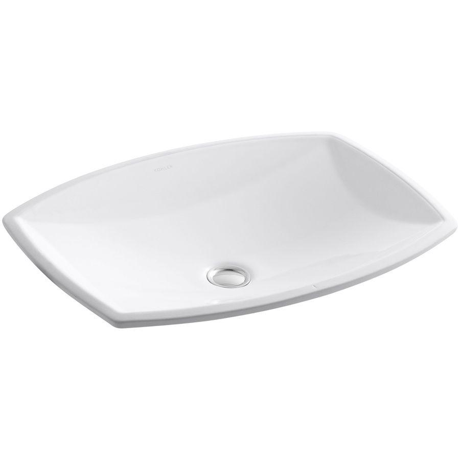 Kohler kelston white undermount rectangular bathroom sink with