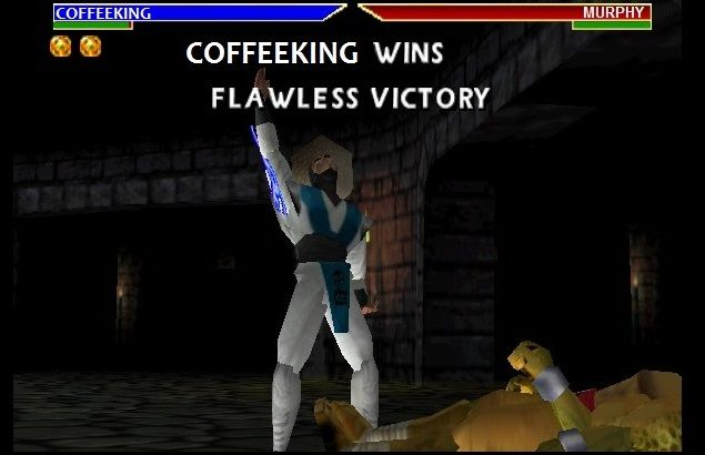 Coffeeking (me) defeating Murphy in Mortal Kombat game: Flawless Victory