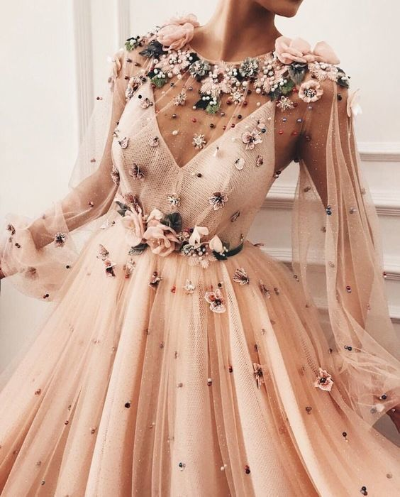 Illusion Flower Appliques Prom Dress,Long Sleeves Long Party Dress,Beaded Prom Dresses with Long Sleeves