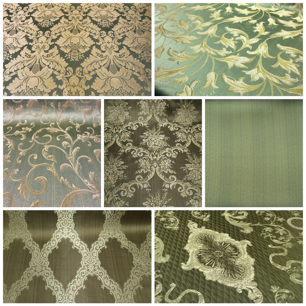 Details About Sage Green Gold Damask Jacquard Brocade Fabric 118