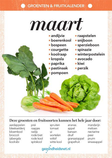 Magnifiek Seizoensgroenten maart | Gezondheidsnet | Schema's - Food &NC47