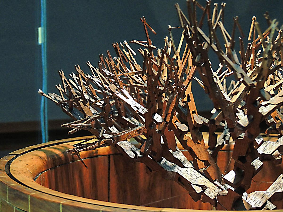 A Tree of 511 Interconnected Pliers Carved from a Single Block of Wood by Ernest Warther