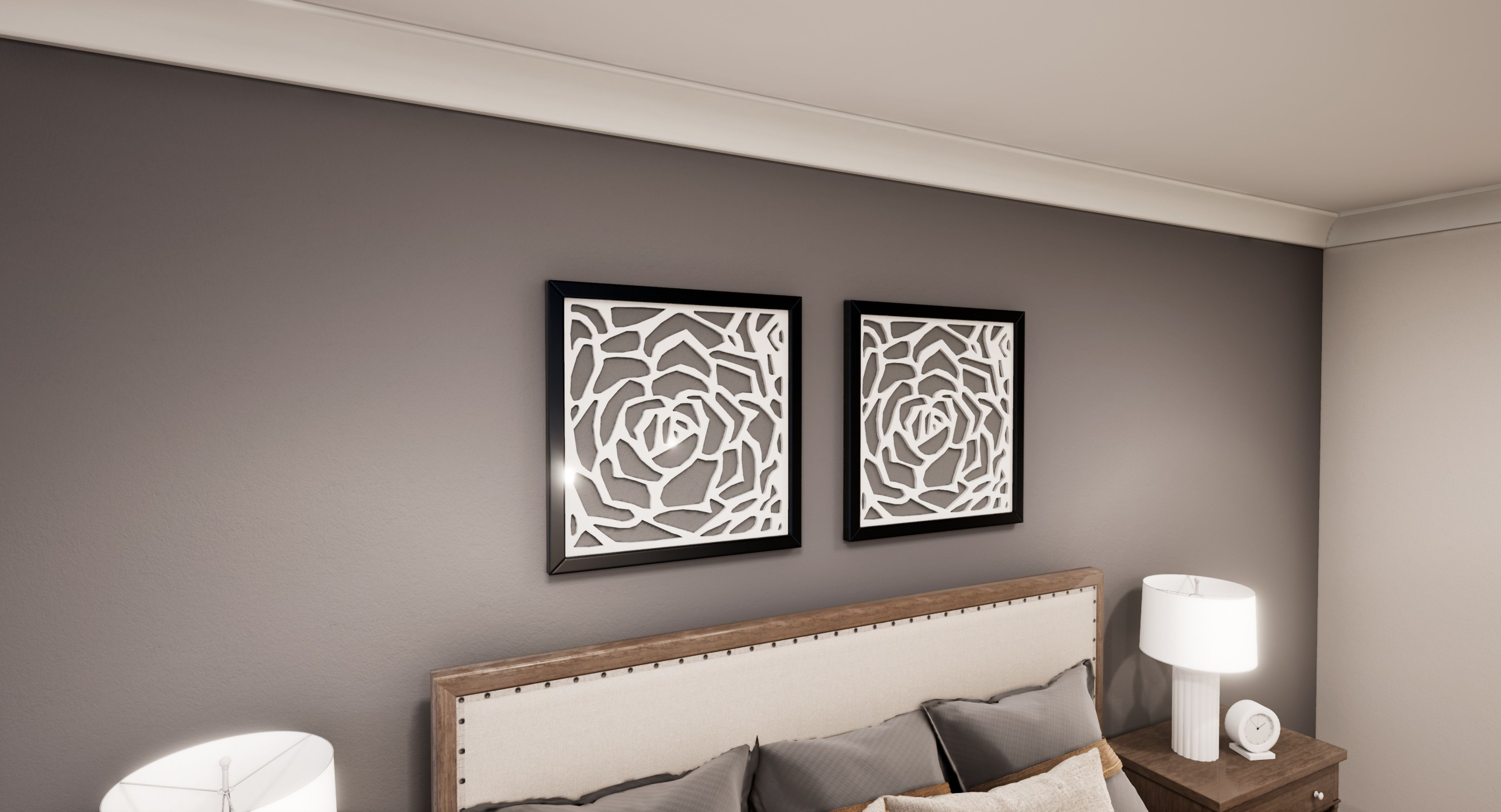 It Looks Best When Hanged On The Back Side Wall Of Your Bed This Luxury White Rose Frame Are The Modern W With Images Home Wall Decor Kitchen Wall Decor Home