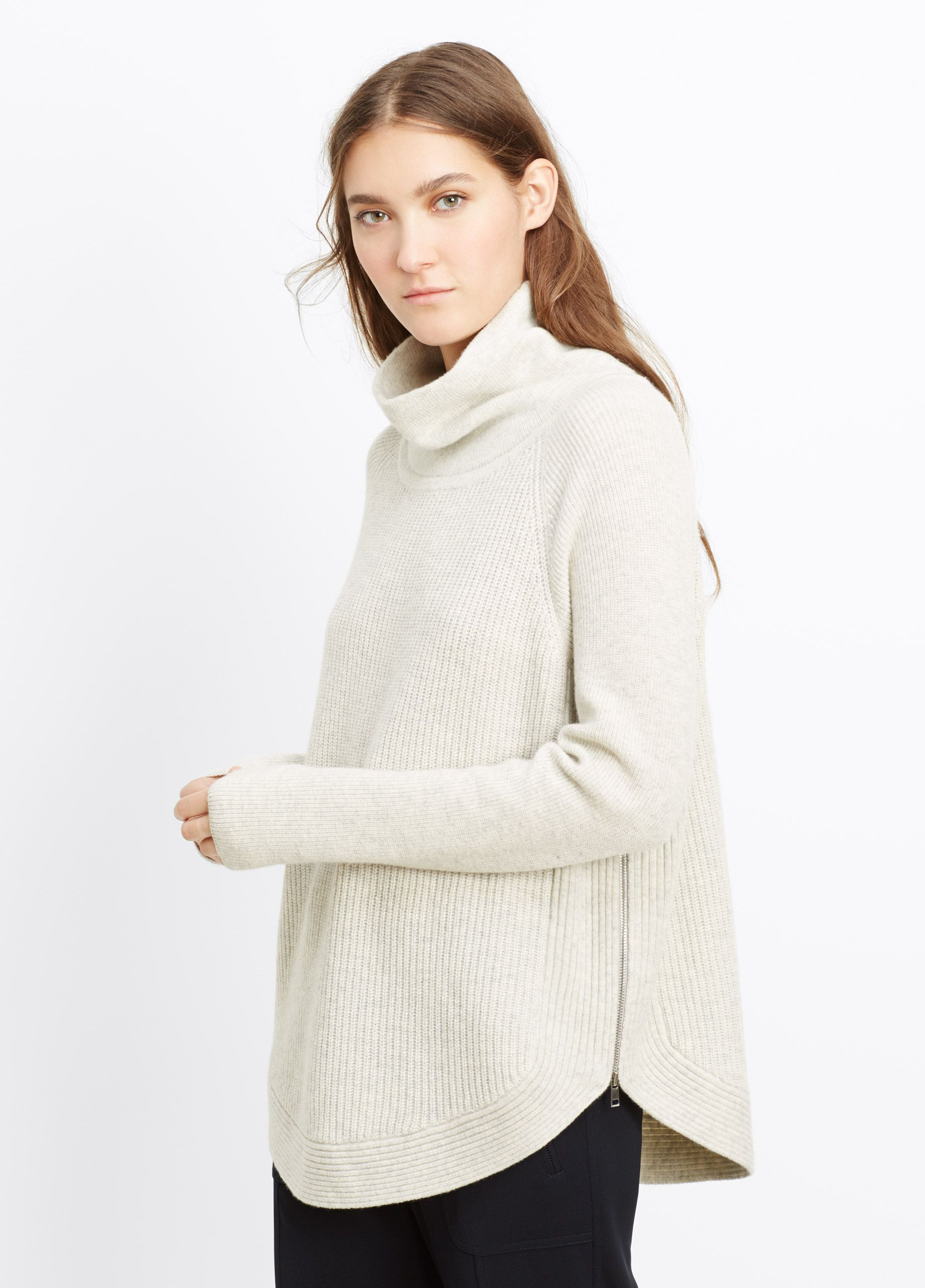 Ribbed Turtleneck Sweater with Side Zippers | Vince | my style ...