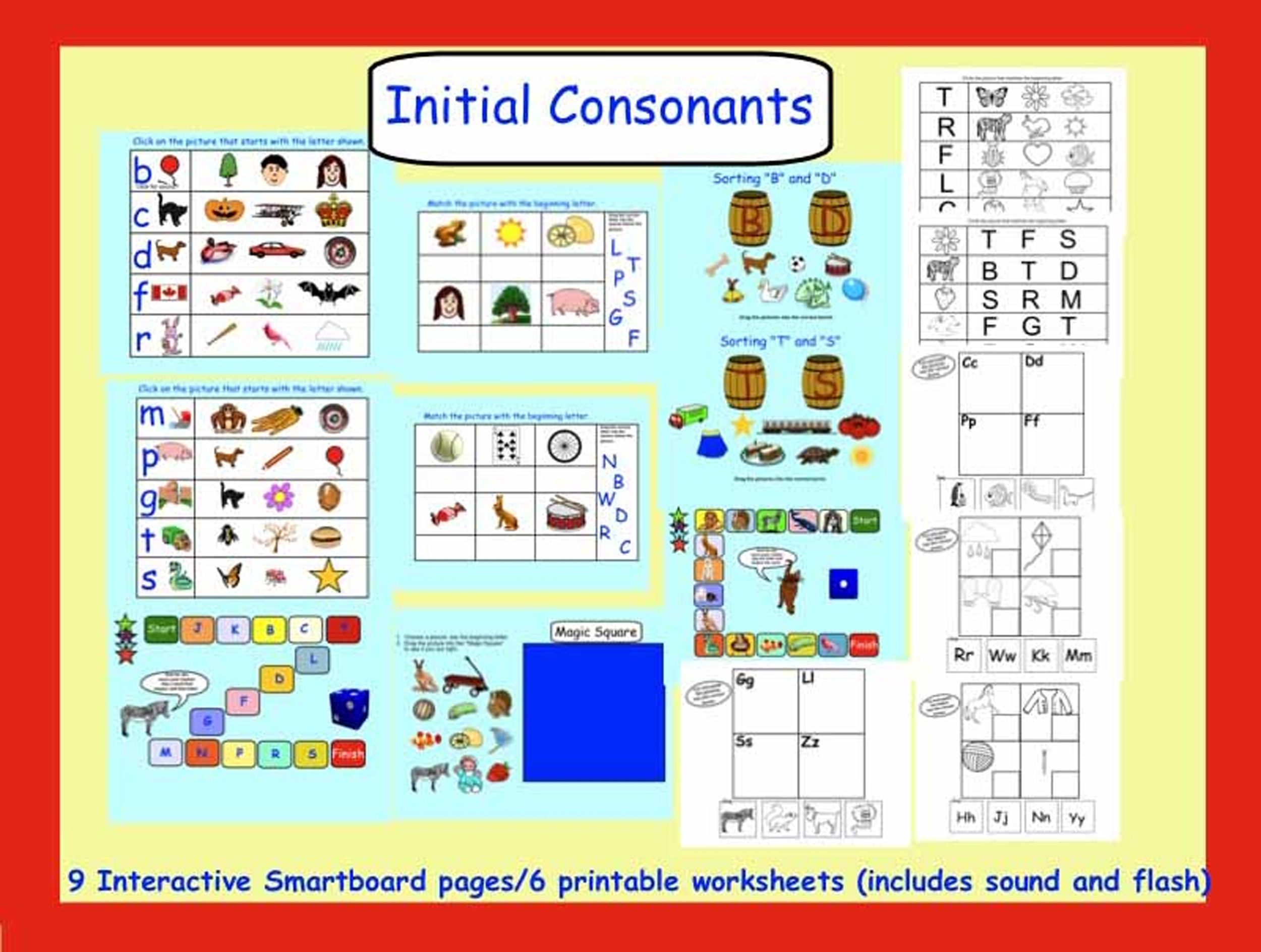 Smartboard Interactive Initial Consonants With Sound And