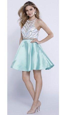 Mint White Embellished Sheer Halter Satin Short Dress 2016 Homecoming Dresses