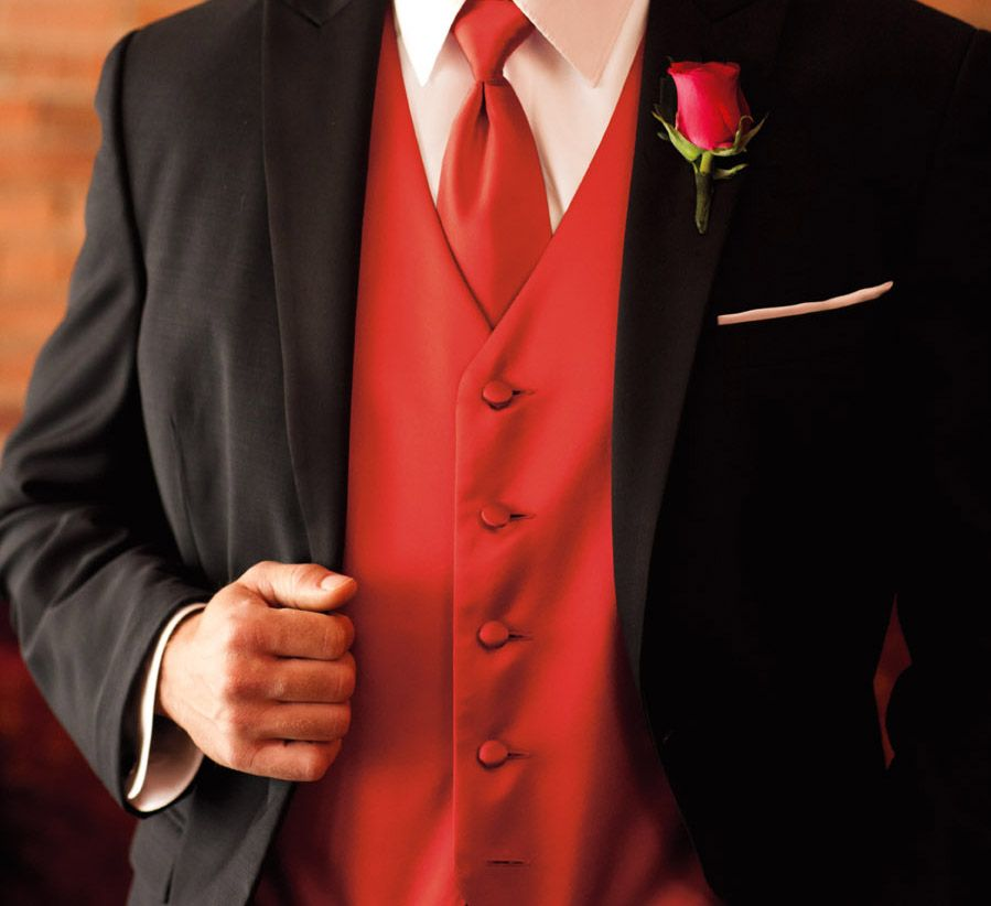 What Goes With Red what goes with roses? try a primetime red vest and tie for the